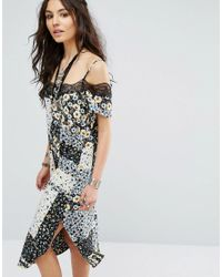 Glamorous | Multicolor Cami Slip Dress In Mixed Print With Lace Trim | Lyst