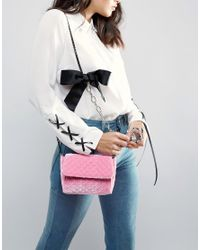 ASOS - Pink Quilted Velvet Cross Body Bag - Lyst