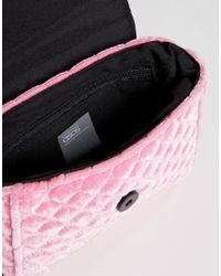 ASOS - Pink Quilted Velvet Cross Body Bag - Lyst