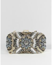 Lyst - ALDO Black   Metallic Beaded Box Clutch Bag in Black 4f477512f42b8