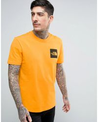 The North Face | Fine T-shirt Square Logo In Orange for Men | Lyst