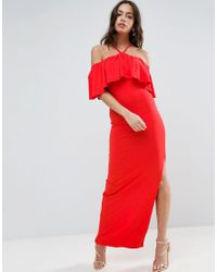 ASOS   Red Ruffle Bandeau With Neck Strap Maxi Dress   Lyst
