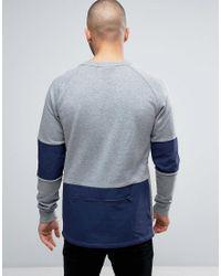 PUMA - Color Block Crewneck Sweatshirt In Gray 572424 04 for Men - Lyst