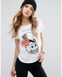 Cheap Monday | White Floral Skull Logo T-shirt | Lyst