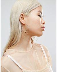 ASOS | Metallic Love Hoop Earrings | Lyst