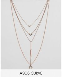 ASOS | Metallic Multirow Bar & Charm Necklace | Lyst