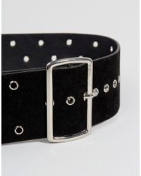 Glamorous - Wide Waist Belt With Eyelet Detail In Black - Lyst