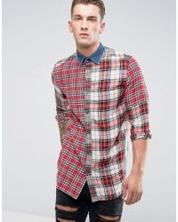 DIESEL - Red S-melvin Patchwork Check Shirt Long Sleeve Denim Collar for Men - Lyst