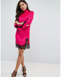 ASOS - Pink Satin High Neck Shift Mini Dress With Lace Inserts - Lyst