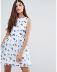 Zibi London - Blue Organza Floral Printed Dress - Lyst