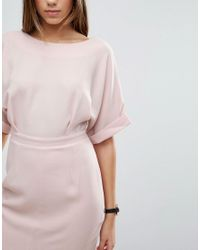 ASOS | Pink Wiggle Dress With Split Front | Lyst