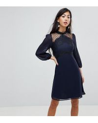 27749701ba4 Elise Ryan Petite High Neck Skater Dress With Lace Detail in Blue - Lyst