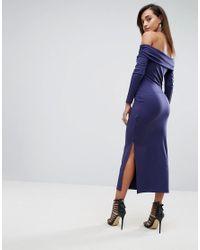 ASOS | Blue Super Soft Deep Bardot Maxi Bodycon Dress | Lyst