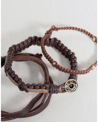 Icon Brand - Brown Plaited Bracelets In 3 Pack - Lyst