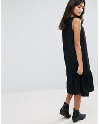 YMC - Black Drop Waist Ruffle Hem Dress - Lyst