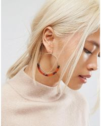 ASOS - Metallic Open Hoop Tortoiseshell Trim Earrings - Lyst