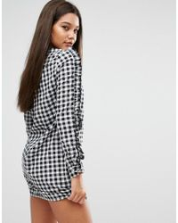 Missguided - Black Gingham Ruffle Sleeve Dress - Lyst