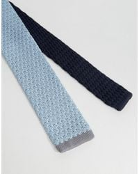 SELECTED - Blue Knitted Tie for Men - Lyst