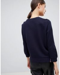 HUGO - Blue Lux Sweater With Logo Detailing - Lyst