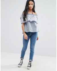 0da06530fae ASOS Stripe Off Shoulder Top With Embroidery in Blue - Lyst
