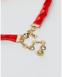 Vanessa Mooney - Red Satin Choker With Gold Plated Chain - Lyst