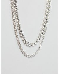 ASOS - Metallic Layered Chain Pack With Crystals In Silver for Men - Lyst