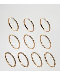 ASOS - Metallic Pack Of 10 Twist And Engraved Ring Pack - Lyst
