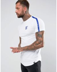 11 Degrees - T-shirt In White With Blue Reflective Stripe for Men - Lyst