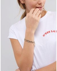 ASOS - Metallic Pack Of 3 Vintage Style Disc And Curved Bar Bracelets - Lyst