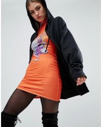 Jaded London | Orange X Granted Bodycon Dress With High Neck In Gothic Print | Lyst