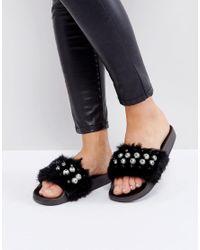 Truffle Collection - Black Truffle Pearl Fur Slide - Lyst