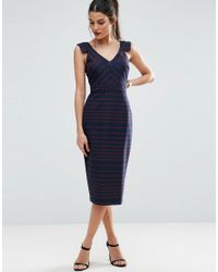 ASOS - Blue V Front V Back Pencil Dress In Stripe - Lyst