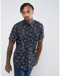 ASOS - Black Design Regular Fit Viscose Abstract Floral Print Shirt for Men - Lyst
