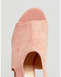 Glamorous - Pink Tie Back Mid Heeled Mules - Lyst