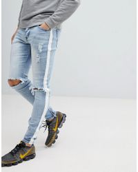 17ab4ff987 Sixth June Super Skinny Jeans In Light Wash With Side Stripe in Blue ...