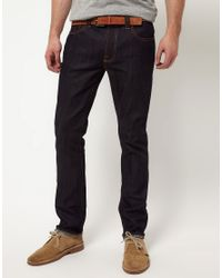 Nudie Jeans | Blue Ecru Embro Thin Finn Slim Fit Jeans In Organic Dry for Men | Lyst