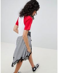 ASOS DESIGN - Multicolor Mixed Fabric Stripe And Lace Insert Dress - Lyst