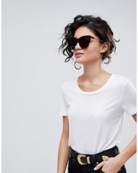 ASOS DESIGN - Brown Asos Squared Cat Eye Sunglasses With Laid In Lens - Lyst