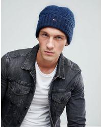 2390c2f5 Tommy Hilfiger - Blue Textured Knit Beanie Flag Logo In Navy Marl for Men -  Lyst