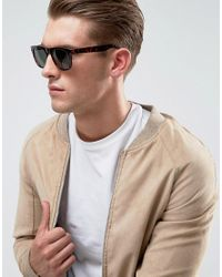ASOS - Brown Square Sunglasses In Tort for Men - Lyst