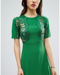ASOS - Green Lace Insert Shift Mini Dress - Lyst