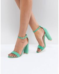 Glamorous - Green Barely There Block Heeled Sandals - Lyst