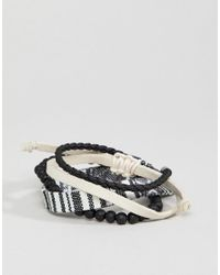 ASOS - Black Design Bracelet Pack In Monochrome With Beads for Men - Lyst