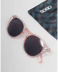 ASOS - Round Sunglasses In Crystal Pink for Men - Lyst
