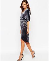 ASOS - Gray Velvet Midi Kimono Dress - Lyst