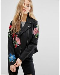 New Look | Black Embroidered Hero Biker Jacket | Lyst