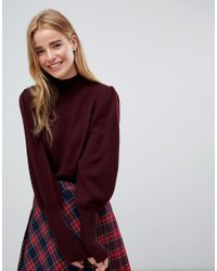 ASOS - Red Asos Sweater With Full Sleeves And Roll Neck - Lyst