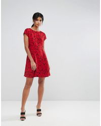 French Connection - Red Rosaline Drape Fit & Flare Dress - Lyst