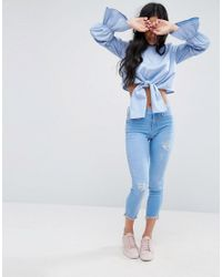 ASOS | Blue Cotton Crop Top With Tiered Sleeve | Lyst