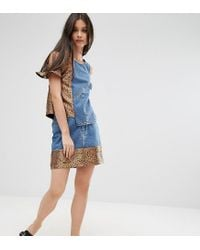 ASOS - Blue Denim Mini Skirt With Jacquard Hem Co-ord - Lyst
